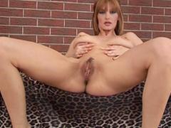 Blonde with big tits Vanessa B masturbates with dildo