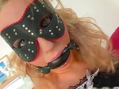 Blonde wearing gag and mask gets double penetration