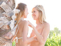 Slender lesbians are licking pussies on the deck chair