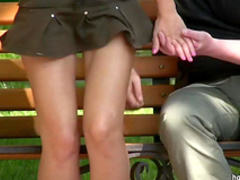 Hardcore outdoor upskirt with trimmed pussy
