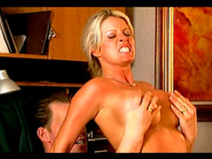 Blonde Tabitha Stevens sucks a big dick