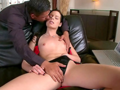 Sexy brunette gets banged from behind on the table