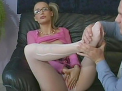 Blonde in glasses rides on the big hard dick