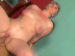 Mature slender babe Shiela rides on the dick