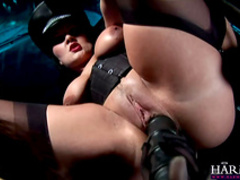 Kinky mistress fucks her naughty slaves with strapon
