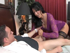 Hot brunette milf gives a blowjob