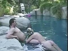 Crystal Gold pool threesome