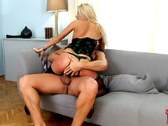 Anal fuck in doggy style with glamorous blonde