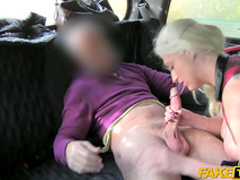 Pretty blonde is giving a blowjob for this driver