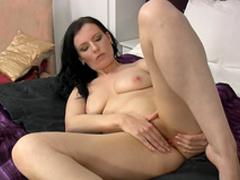 Sexy masturbation scene with slender brunette