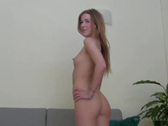 Slender blonde is sucking a dick of an agent