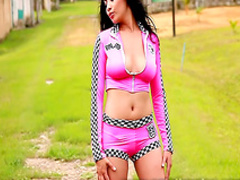 Busty Latina takes off her sexy pink outfit
