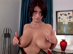 Big-titted brunette Eileen rubs her nice vagina