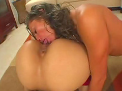 Oiled up asses hardcore threesome