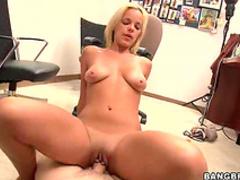 Natural blonde works big dick