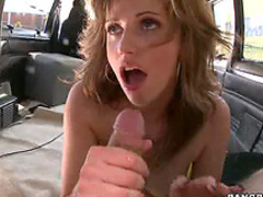 Charming cutie blows in van
