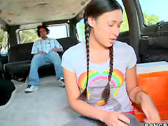 Braided pigtails girl gobbles dick