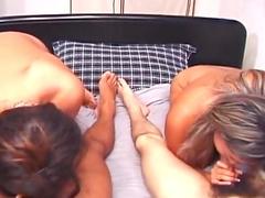 Mayumi Hashimoto and Miki Aizawa are two cock-sucking Asians