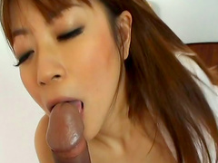 Cock-sucking angel Mei Itoya being fucked in hairy pussy