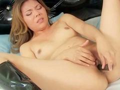 Perverted brunette bangs herself with black shaft