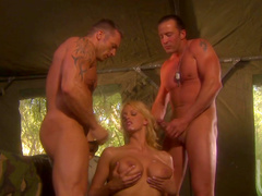 Stunning blonde Stormy Daniels being fucked by military guy