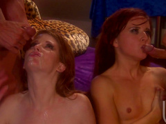 Anna Belle Lee and Nikki Rhodes are fucking with two dudes