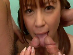 Sweet babe Mei Itoya is sucking two hot dick in the raw