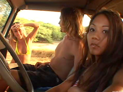 Hitchhiking girl takes part in a ride on a dick