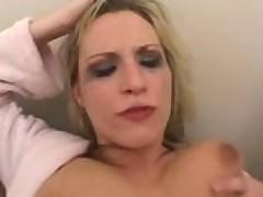 Nasty Blonde Eats Cum Out Of Her Ass