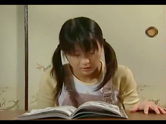 Pigtailed masturbating Japanese girl