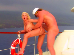 Slender blonde Stormy Daniels makes a blowjob on the boat