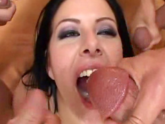 Anal gangbang with perverted brunette Taryn Thomas