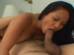 Hot Asian tastes that fat long dick with pleasure