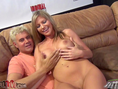 Lovely blonde rides on the hard long dick