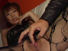 Mei Itoya pokes her puss with a hardcore vibrator