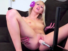Sexy blonde is getting fucked in her shaved hole