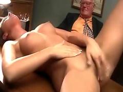 Lesbians play as guy masturbates