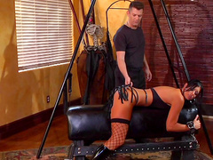 Brunette in stockings India Summer is fucking in her puss
