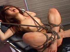 Tied model being humiliated so hard