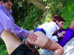 Kate Gold and Terra Sweet are fucking outdoors