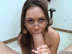 Girl in glasses sucks boner