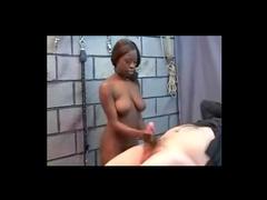 Bondage fuck with black slut