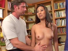 Asian banged in hardcore threesome