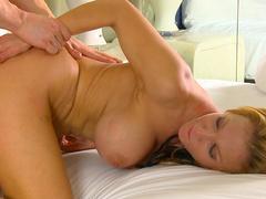 Sexy busty blonde Nikki Sexx fucks with a slender dick