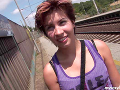 Alluring babe Nikita is fucking at the railway station