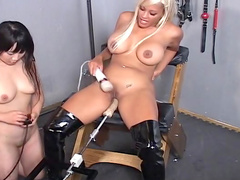 That sexy blonde being fucked by a fucking machine