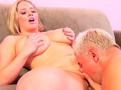 Big-titted blonde Maggie Green and her cock-sucking skills