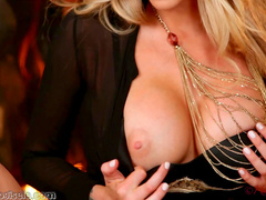 Nasty blonde is playing with her shaved cute puss