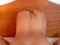 Nice-looking brunette sucks a small cock