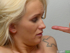 Sensual blonde Emily Austin is riding on the dick